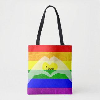 Bolsa Tote Sacola do amor do orgulho do arco-íris de LGBT