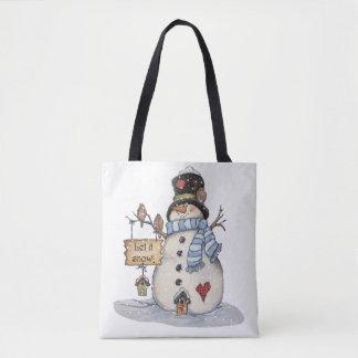 Bolsa Tote Sacola do boneco de neve do Natal