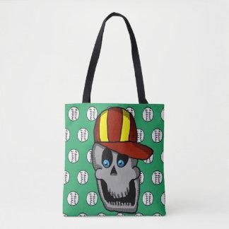 Bolsa Tote Sacola do crânio do chapéu de basebol