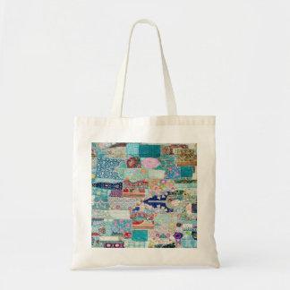 Bolsa Tote Sacola do design da tapeçaria do Aqua e da edredão