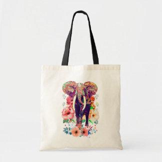 Bolsa Tote Sacola do elefante e da flor