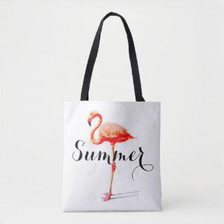 Bolsa Tote Sacola do flamingo do verão das mulheres