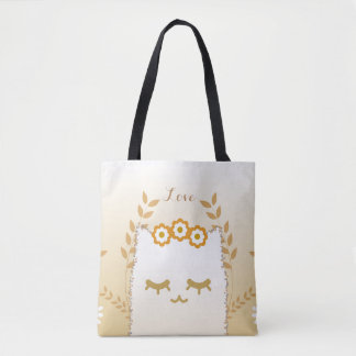 Bolsa Tote Sacola do gato da flor