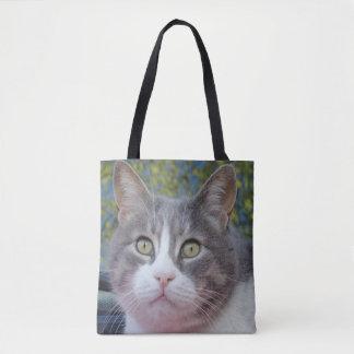 Bolsa Tote Sacola do gato do branco cinzento