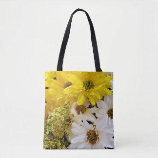 Bolsa Tote Sacola do impressão das flores amarelas e brancas