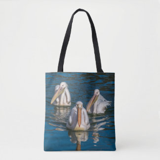 Bolsa Tote Sacola do impressão de três pelicanos toda sobre -