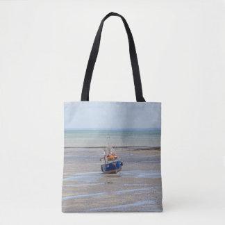 Bolsa Tote Sacola do impressão do barco na maré baixa toda
