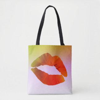 Bolsa Tote Sacola do impressão do costume dos lábios toda