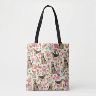 Bolsa Tote Sacola do impressão floral de Airedale Terrier