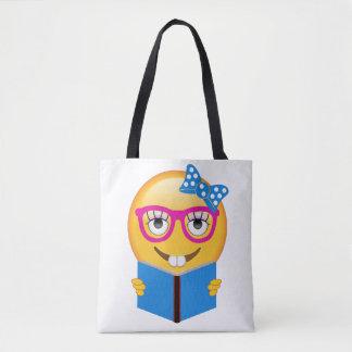 Bolsa Tote Sacola do leitor ávido de Emoji do nerd para