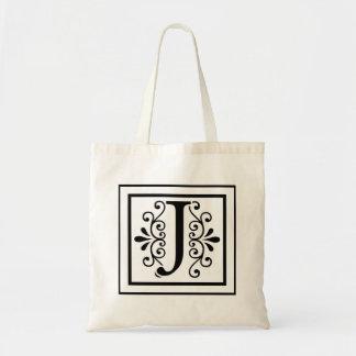 Bolsa Tote Sacola do monograma da letra J