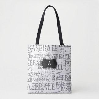 Bolsa Tote Sacola do monograma do fã de basebol