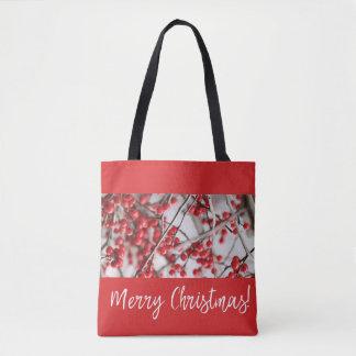 Bolsa Tote Sacola do Natal das bagas do azevinho
