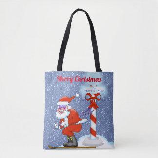 Bolsa Tote Sacola do Natal do papai noel do esqui