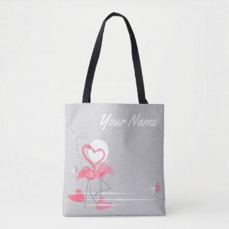 Bolsa Tote Sacola do nome do lado do amor do flamingo