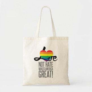 Bolsa Tote Sacola do ódio do amor não (arco-íris)