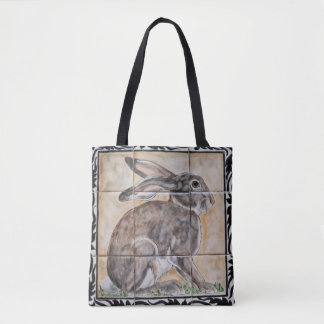 Bolsa Tote Sacola do olhar do azulejo do Jackrabbit da lebre