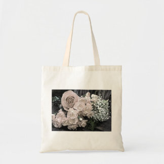 Bolsa Tote Sacola do orçamento do rosa branco do vintage