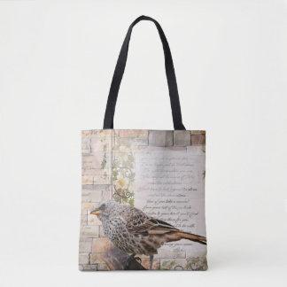 Bolsa Tote Sacola do pássaro do estilo da arte dos meios