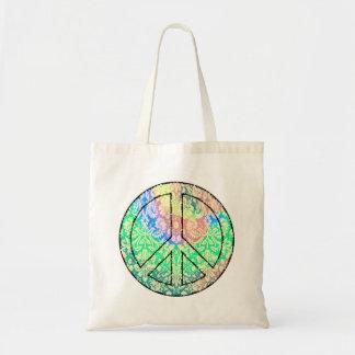 Bolsa Tote Sacola do sinal de paz da tintura do laço