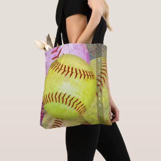 Bolsa Tote sacola do softball das mulheres com nome feito sob