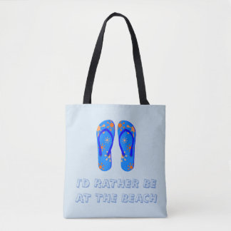 Bolsa Tote Sacola do tema da praia no azul