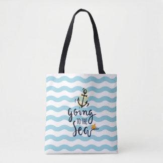 Bolsa Tote Sacola do verão com elementos bonitos do mar