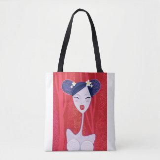 Bolsa Tote Sacola dos desenhistas com gueixa/vermelho