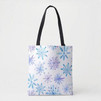 Bolsa Tote Sacola dos flocos de neve da aguarela