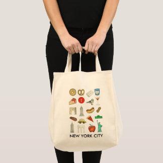 Bolsa Tote Sacola dos ícones dos marcos da viagem da Nova