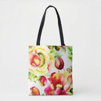 Bolsa Tote Sacola dos rosas e das tulipas da couve