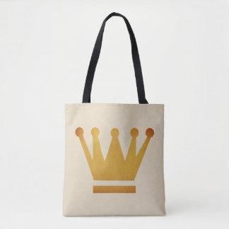 Bolsa Tote Sacola dourada da coroa