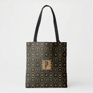 Bolsa Tote Sacola elegante do monograma dos círculos do preto