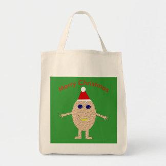 Bolsa Tote Sacola engraçada do ovo do Natal