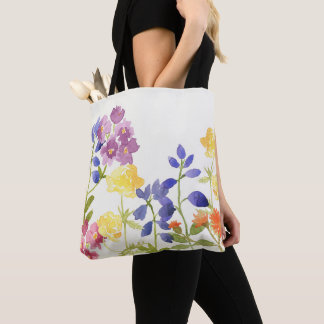 Bolsa Tote Sacola escocesa do Watercolour das flores