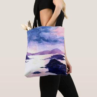 Bolsa Tote Sacola escocesa roxa da pintura do Watercolour