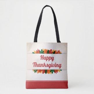 Bolsa Tote Sacola feliz da acção de graças | das folhas