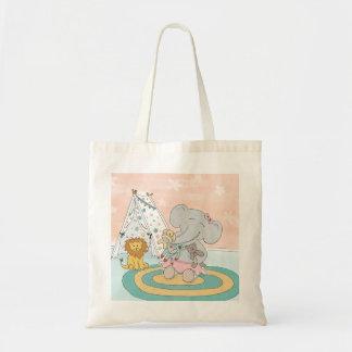 Bolsa Tote Sacola feliz do elefante e dos amigos