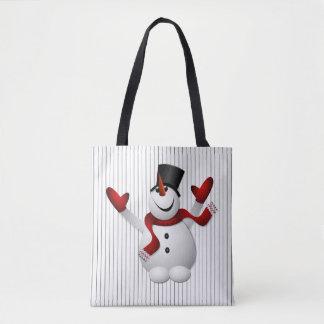 Bolsa Tote Sacola feliz feliz do Natal do boneco de neve
