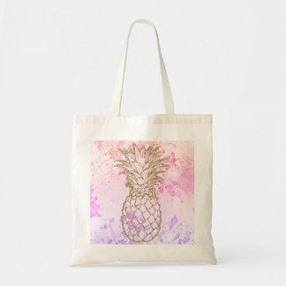 Bolsa Tote Sacola feminino do rosa do abacaxi do brilho do