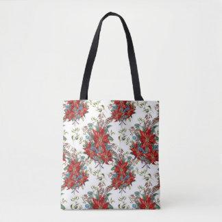 Bolsa Tote Sacola festiva da flor da poinsétia do vermelho