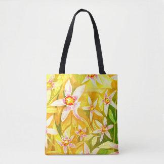 Bolsa Tote Sacola floral amarela bonita do Watercolour