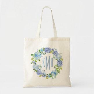 Bolsa Tote Sacola floral azul feita sob encomenda do