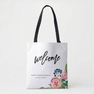 Bolsa Tote Sacola floral boémia bem-vinda do casamento