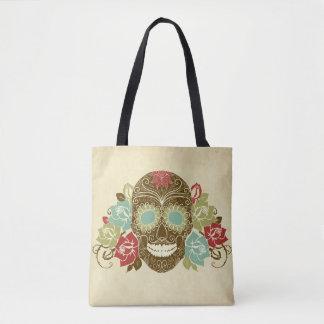 Bolsa Tote Sacola floral colorida do crânio do açúcar