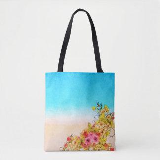 Bolsa Tote Sacola floral com parte dianteira das cores do