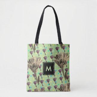 Bolsa Tote Sacola floral com pontos de Polca