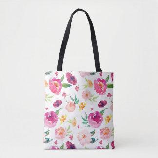 Bolsa Tote Sacola floral da aguarela moderna