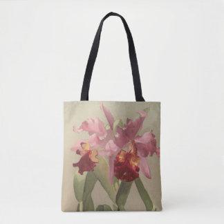 Bolsa Tote Sacola floral da arte da orquídea do natal vintage