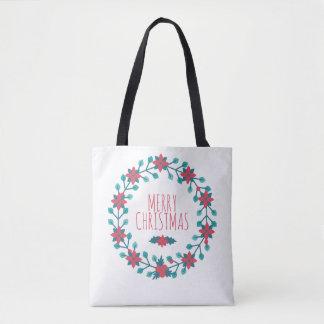 Bolsa Tote Sacola floral da grinalda do Natal bonito